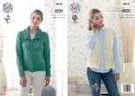 King Cole 4818 Knitting Pattern Womens Jacket and Waistcoat in King Cole Fashion Aran
