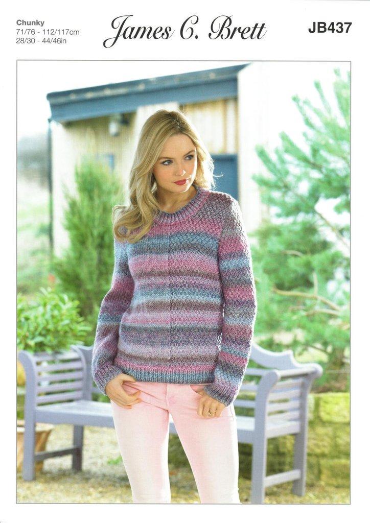 James C Brett Jb437 Knitting Pattern Womens Sweater In