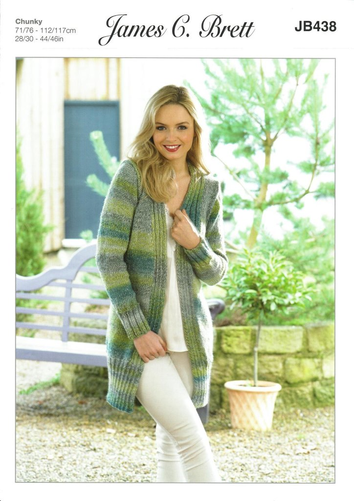 810729239 James C Brett JB438 Knitting Pattern Womens Long Cardigan   Jacket ...