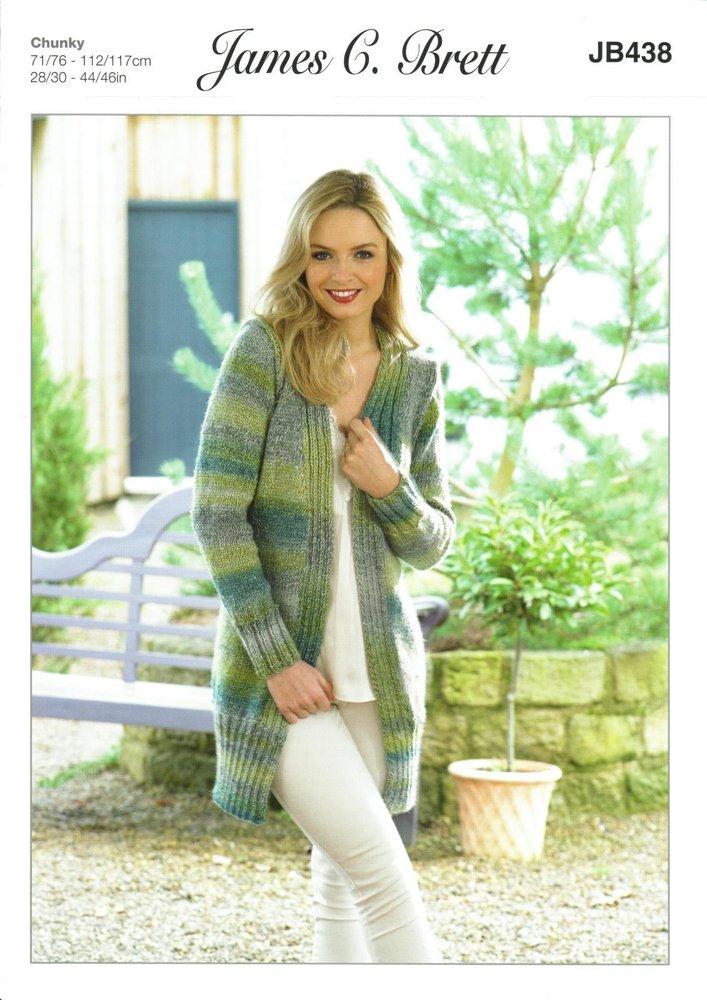 James C Brett Jb438 Knitting Pattern Womens Long Cardigan Jacket