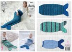 King Cole 4865 Knitting Pattern Baby Child Adult Mermaid Tail Blanket in King Cole Chunky