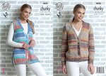 King Cole 4850 Knitting Pattern Womens Cardigan and Waistcoat in King Cole Drifter Chunky