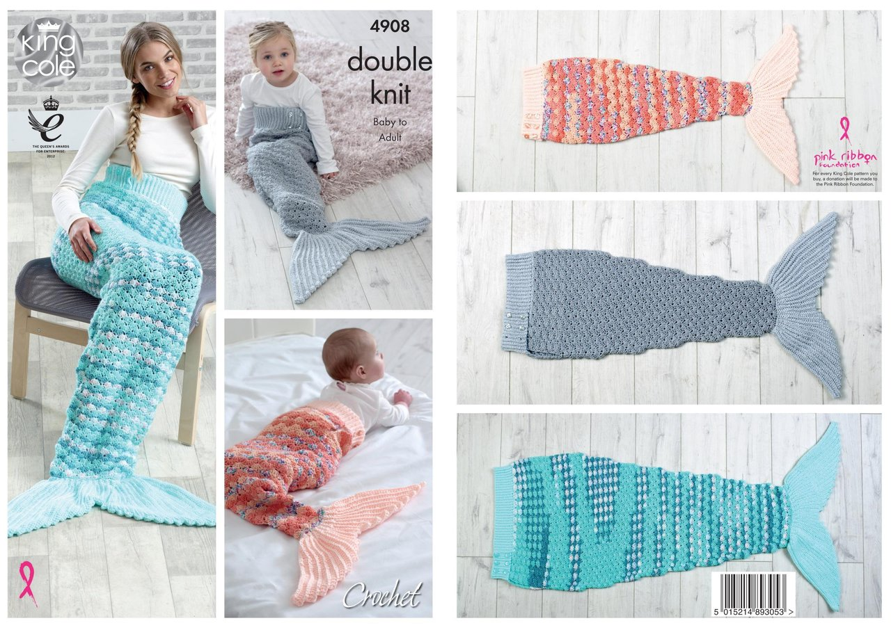 King Cole 4908 Crochet Pattern Baby Child Adult Mermaid Tail Blanket