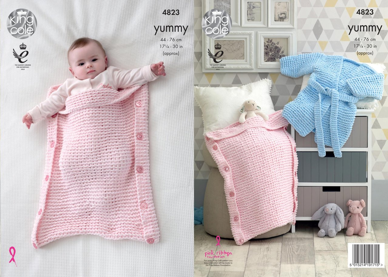 33e14ab62 King Cole 4823 Knitting Pattern Baby Robe and Sleeping Bags in King ...