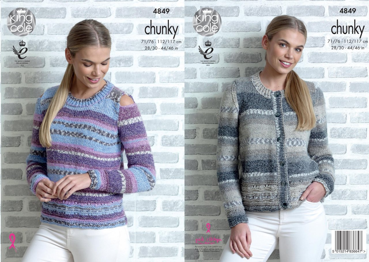 e14d61c7d9816 King Cole 4849 Knitting Pattern Womens Sweater and Cardigan in King Cole  Drifter Chunky - Athenbys
