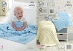 King Cole 4824 Crochet Pattern Baby Blankets in King Cole Yummy Chunky