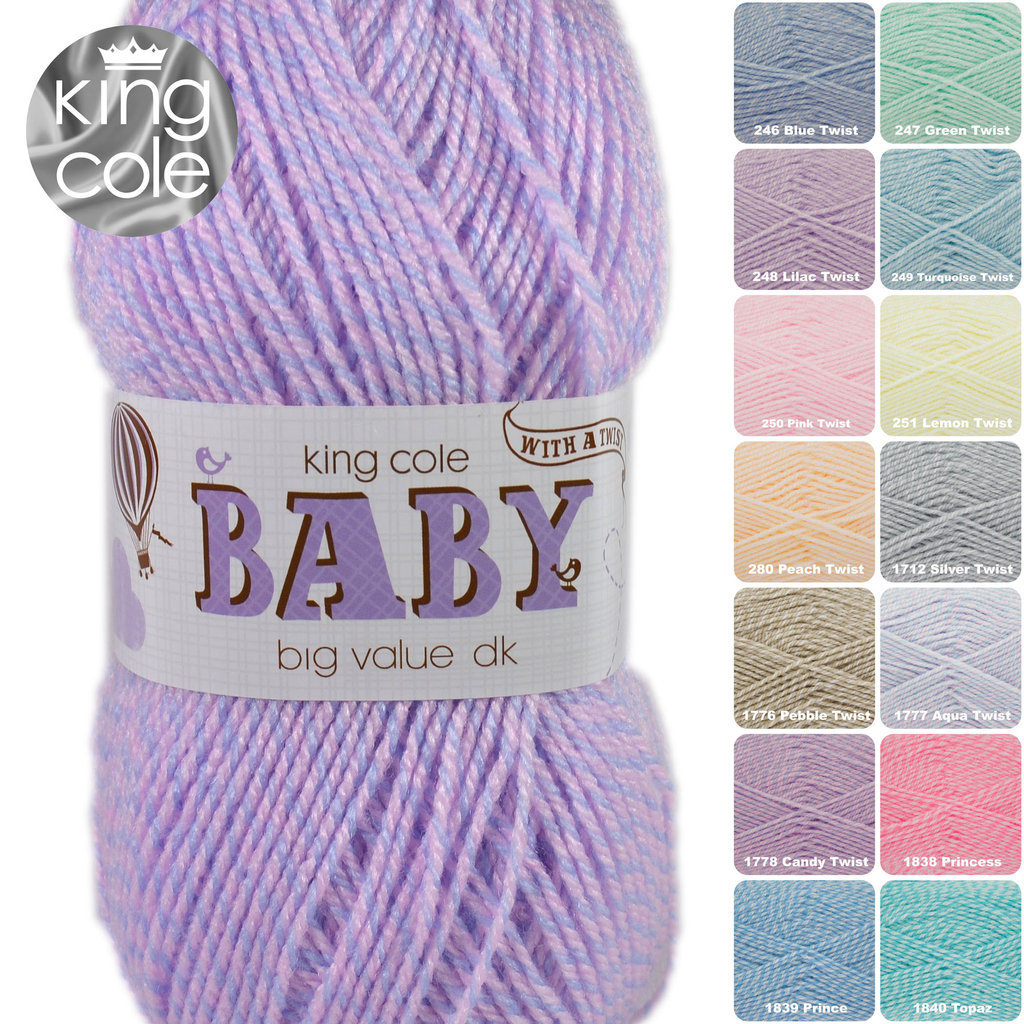 King Cole Big Value Baby Dk With A Twist Acrylic Knitting Yarn