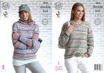 King Cole 4853 Knitting Pattern Womens Sweater and Hoodie in King Cole Drifter DK