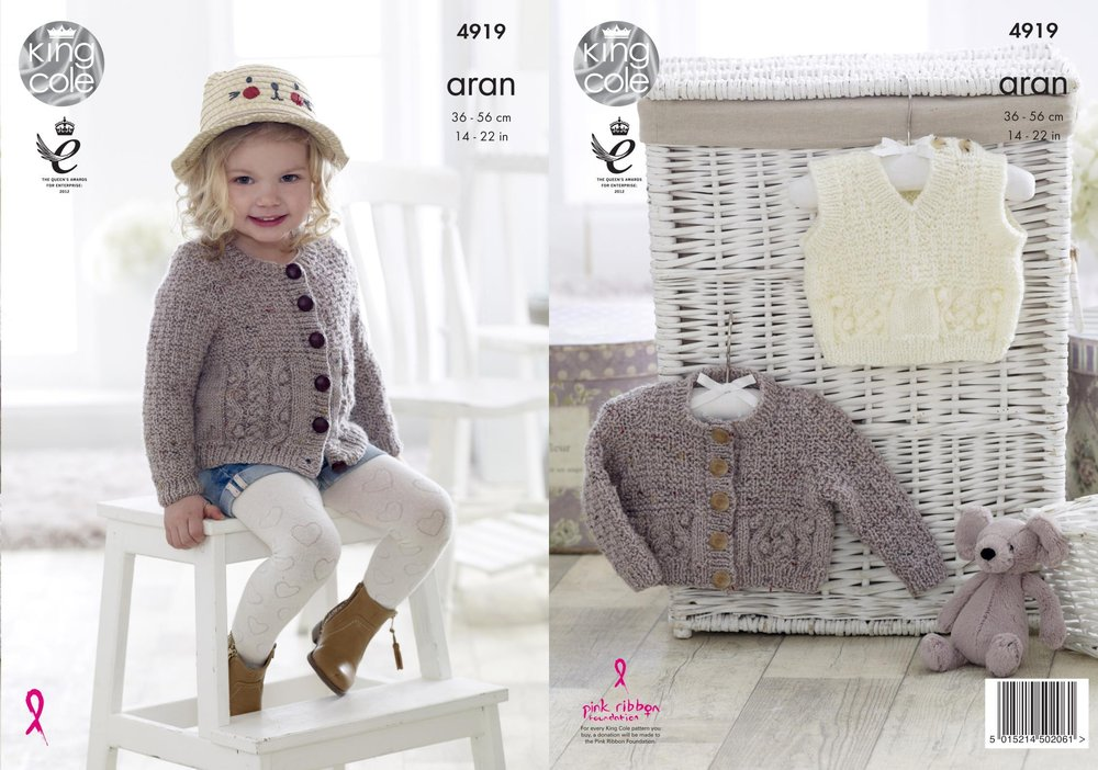 King cole 4919 knitting pattern baby childrens cardigans and king cole 4919 knitting pattern baby childrens cardigans and slipover in king cole big value aran dt1010fo