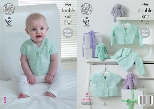 King Cole 4906 Knitting Pattern Babies Raglan Cardigans in King Cole Baby Pure DK
