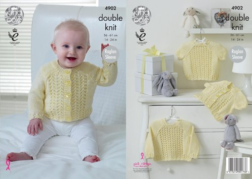 King Cole 4902 Knitting Pattern Babies Raglan Cardigans and Sweaters in King Cole Baby Pure DK