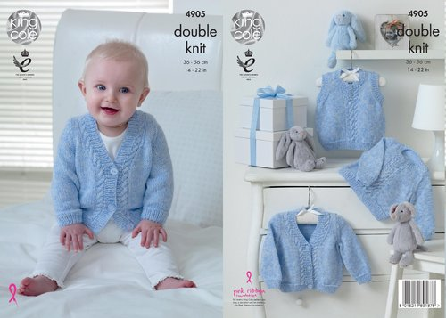 King Cole 4905 Knitting Pattern Babies Sweater Slipover and Cardigan in King Cole Baby Pure DK