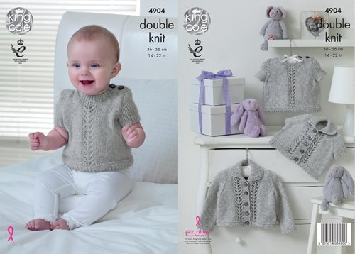 King Cole 4904 Knitting Pattern Babies Sweater and Cardigans in King Cole Baby Pure DK