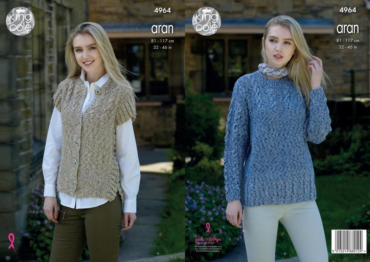 Knitting Pattern Gilet Aran : King Cole 4964 Knitting Pattern Sweater and Gilet in King Cole Fashion Aran C...