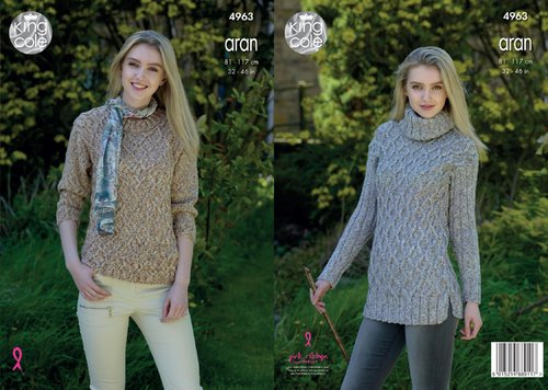 King Cole 4963 Knitting Pattern Short and Long Sweaters in King Cole Fashion Aran Combo