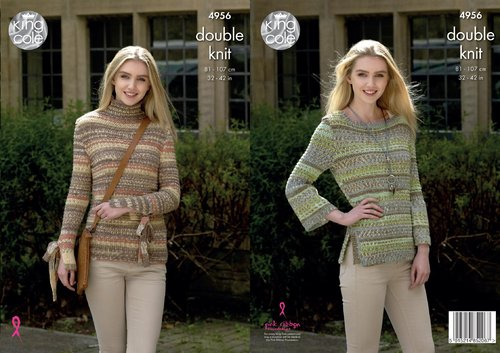 King Cole 4956 Knitting Pattern Womens Funnel and Scoop Neck Sweaters in King Cole Drifter DK