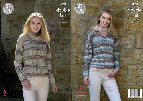 King Cole 4958 Knitting Pattern Womens Polo Neck and V Neck Sweaters in King Cole Drifter DK