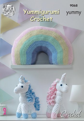 King Cole 9068 Crochet Pattern Yummigurumi Crochet Unicorn and Rainbow Cushion in King Cole Yummy