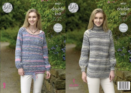 King Cole 4957 Knitting Pattern Womens Polo Neck and Scoop Neck Sweaters in King Cole Drifter DK