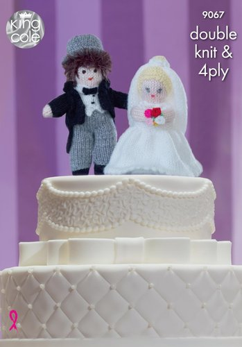 King Cole 9067 Knitting Pattern Bride and Groom Wedding Cake Toppers in King Cole DK and 4 Ply