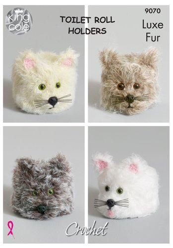 King Cole 9070 Crochet Pattern Cat Toilet Roll Holders in King Cole Luxe Fur