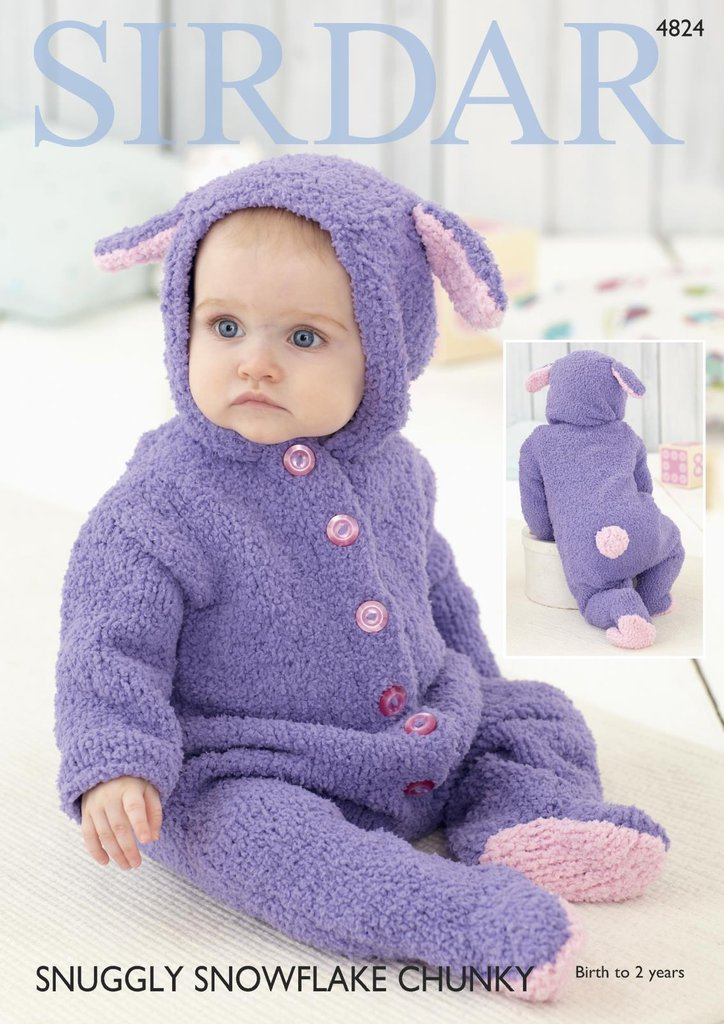 Sirdar 4824 Knitting Pattern Babys Rabbit All In One