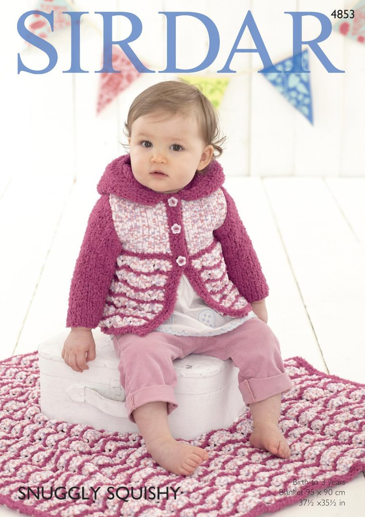 a0f024e61436 sirdar 4853 knitting pattern baby hooded coat and blanket in snuggly  squishy. ATHENBYS