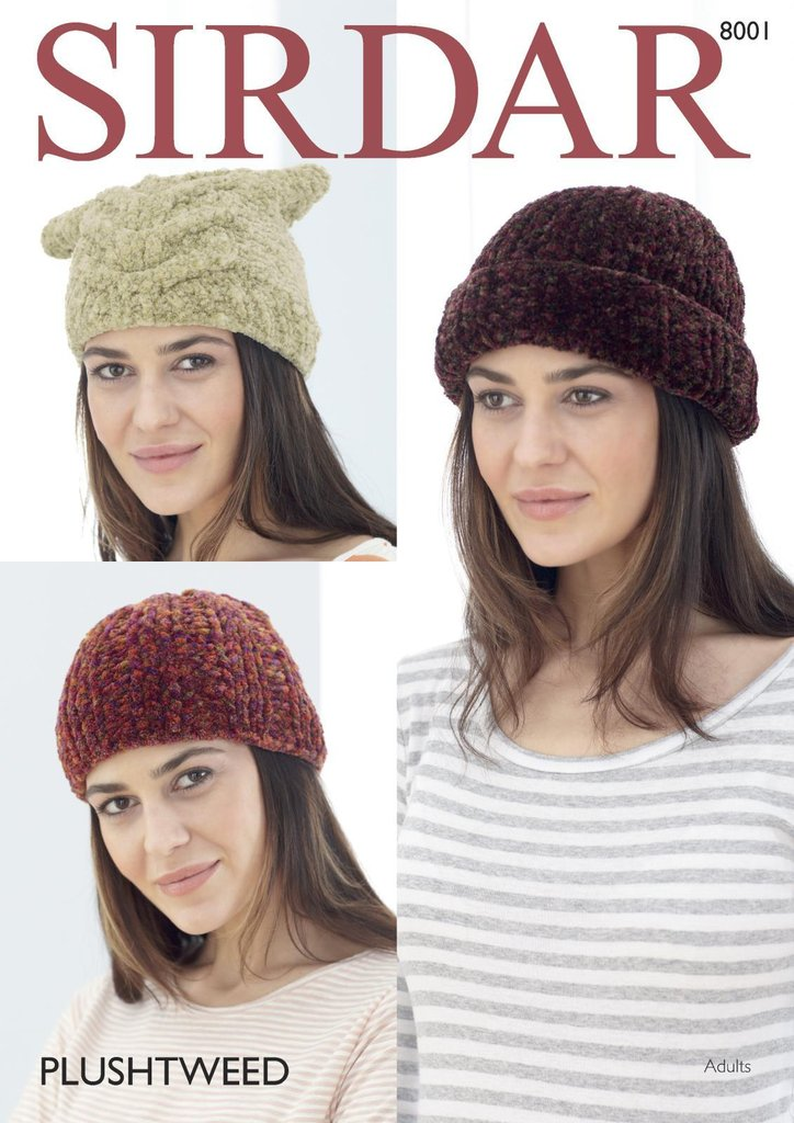 Sirdar 8001 Knitting Pattern Womens Pull-on Ribbed and Tea Bag Hats ...