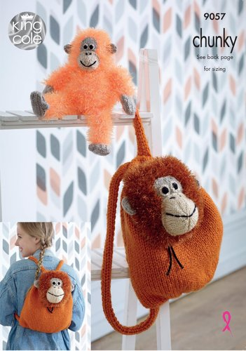 King Cole 9057 Knitting Pattern Orangutan Backpack & Toy in Tinsel Chunky