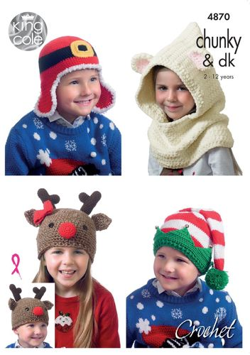 King Cole 4870 Crochet Pattern Childrens Christmas Novelty Hats in DK and Chunky