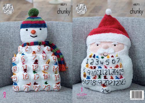 King Cole 4871 Knitting Pattern Snowman & Santa Advent Cushions in Chunky