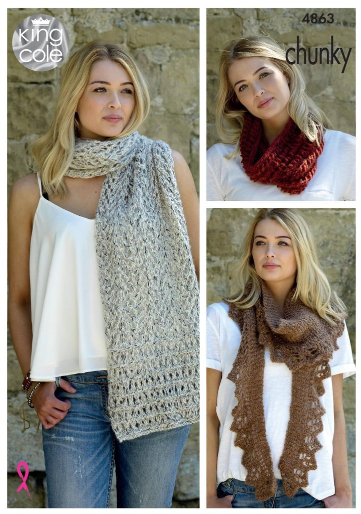 King Cole 4863 Knitting Pattern Womens Scarf Shawl And Snood In King