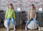 King Cole 4970 Knitting Pattern Girls Easy Knit Sweater and Cardigan in King Cole Comfort Chunky