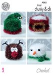 King Cole 9082 Crochet Pattern Christmas Toilet Roll Covers in Tinsel Chunky & Dollymix DK