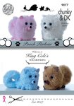 King Cole 9077 Knitting Pattern Pomeranian Dog Toys in Tinsel Chunky and Dollymix DK
