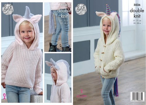 King Cole 5036 Knitting Pattern Girls Unicorn Sweater and Cardigan Hoodie in Comfort DK