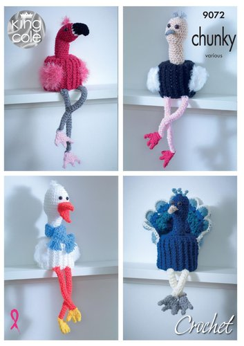 King Cole 9072 Crochet Pattern Bird Toilet Roll Holders in Big Value Chunky & Tinsel Chunky