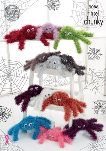 King Cole 9086 Knitting Pattern Halloween Tinsel Spiders in King Cole Tinsel Chunky