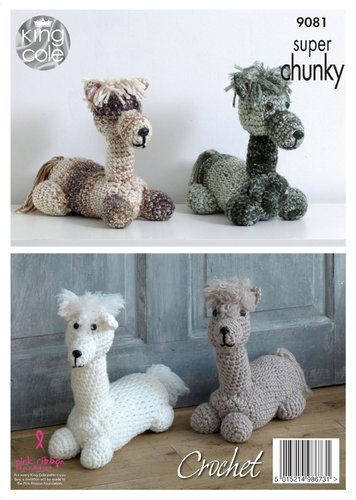 King Cole 9081 Crochet Pattern Andre the Alpaca Toy / Doorstop in King Cole Big Value Super Chunky