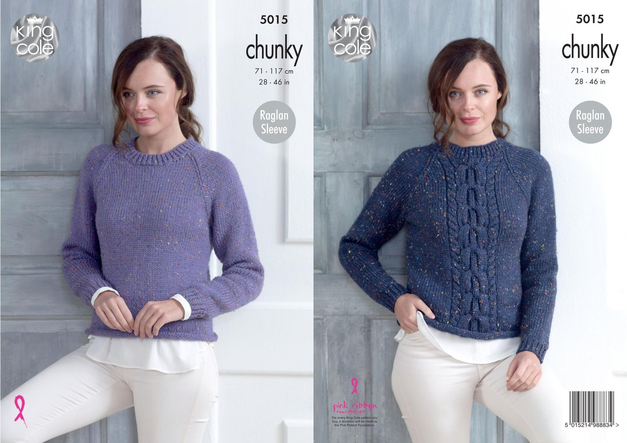 d604d9e00 King Cole 5015 Knitting Pattern Womens Plain and Cabled Sweaters in King  Cole Chunky Tweed - Athenbys