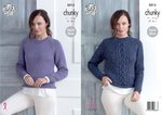King Cole 5015 Knitting Pattern Womens Plain and Cabled Sweaters in King Cole Chunky Tweed