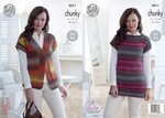King Cole 5011 Knitting Pattern Womens Easy Knit Waistcoat and Top in King Cole Riot Chunky