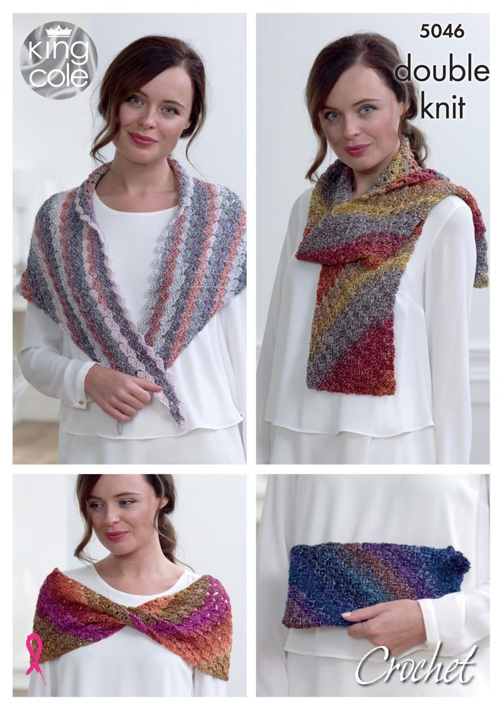 King Cole 5046 Knitting Pattern Womens Scarf Cowl Shawl and Clutch ...