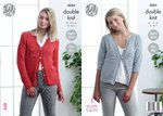 King Cole 5024 Knitting Pattern Womens Raglan Cardigans in King Cole Glitz DK