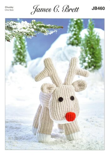 James C Brett JB460 Knitting Pattern Rudolph Reindeer Toy in Flutterby Chunky