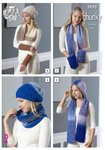 King Cole 5055 Knitting Pattern Womens Scarves Cowl Hat & Wrist Warmers in King Cole Carousel Chunky