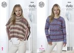 King Cole 5054 Knitting Pattern Womens Poncho and Sweater in King Cole Drifter Chunky