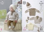 King Cole 5086 Knitting Pattern Baby Sweaters Hat and Socks in King Cole Cherish & Cherished DK
