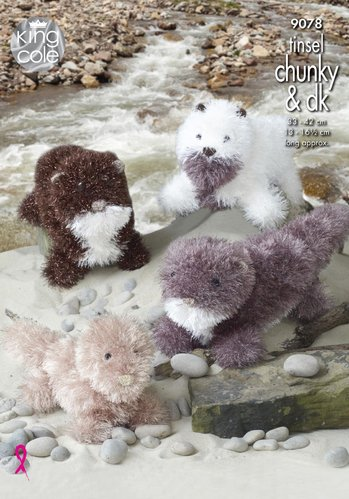 King Cole 9078 Knitting Pattern Toy Otters in Tinsel Chunky and DK