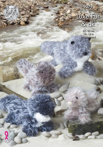 King Cole 9079 Knitting Pattern Toy Otters in Luxe Fur and DK